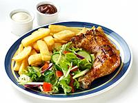 Chicken Leg, Chips & Salad