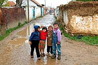 Children posing in the Romany district of Kosovo Polje, Serbia and Montenegro.