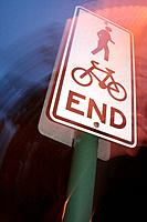 Sign: end of bike path and pedestrian walk, Mitchell St, Darwin, Northern Territory, Australia