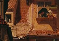 Ü Kunst, Spitzweg, Carl 5.2.1808 _ 23.9. 1885, Gemälde Der Briefbote im Rosenthal Ausschnitt, um 1845,Marburger Universitätsmuseum für Kunst und Kultu...