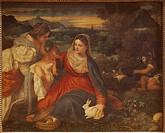 Ü Kunst, Tizian eig. Tiziano Vecellio, um 1480 _ 27.8.1576, Gemälde La Vierge au Lapin Louvre, Paris kaninchen, tier, biblisch, kind, kleinkind, opfer...