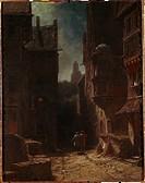 Ü Kunst, Spitzweg, Carl 5.2.1808 _ 23. 9.1885, Gemälde Nächtliche Heimkehr Stiftung Reinhart, Winterthur karl, dt. biedermeier, 19 jh, zwei wächter, s...