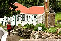 Local woman walking to the museum Not released Charming area of town called 'The Bottom' on Saba Island in the Dutch Caribbean
