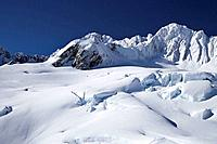 Chamberlin Snowfield and Mt Rudolf, above Franz Josef Glacier, West Coast, South Island, New Zealand - aerial