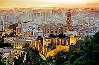 In front the moorish Alcazaba, and the cathedral. Málaga province. Spain.