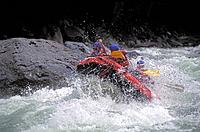 Whitewater rafting at Boulder Drop on the Skykomish River.