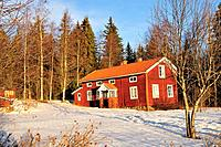 Traditional Swedish timberhouse on the countryside, Hälsingland, Sweden