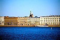 Russia _ St Petersburg _ The Neva _ The Palace Wharf _ Dome of Resurrection of Christ Church