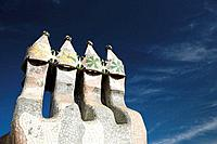Detail of chimneys at Casa Batlló by Gaudí (1904-1906), Barcelona. Catalonia, Spain