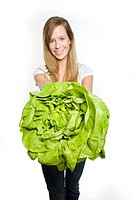 Woman with lettuce