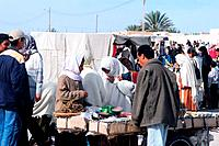 Tunisia _ The South _ Chott el Jerid Region _ Tozeur Region _ Marketplace in a small village