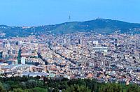 Spain _ Barcelona _ View from Montjuïc of Barcelona and the Tibidabo