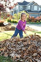 Girl raking leafs