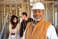 Hispanic male construction worker at new construction site