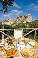 Rural tourism ´ Tenuta La Lama´, breakfast in the garden. Italy.