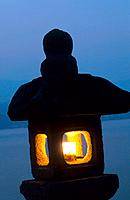 Japan _ The west of Honshu _ Hiroshima _ Miyajima Island _ Stone streetlight