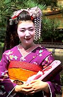 Japan _ Kyoto _ Gion District _ Geisha and Maiko Geisha apprentice