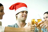 Adult friends clinking champagne glasses, smiling, focus on man in Santa hat, cropped