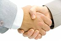 Business partners shaking hands, cropped view, close-up (thumbnail)