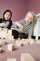 Friends playing with building blocks