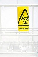 Biohazard label on a test tube