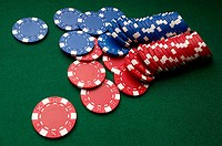 Red and blue gambling chips