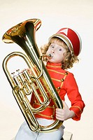 Portrait of a girl playing the tuba (thumbnail)