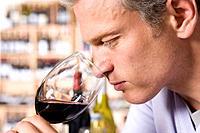 Man wine tasting