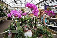 Girl 7-9 in greenhouse garden center by orchids, portrait
