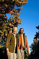 Senior couple outdoors in autumn