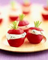 Radishes stuffed with fromage frais