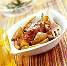 rabbit with peaches and onion