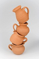Stack of teapot, close_up