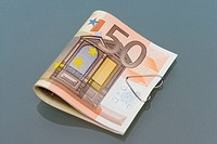 Fifty euro banknotes, close_up