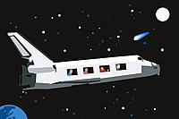 People traveling by space shuttle