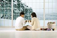 Couple Drinking Tea at Home in Winter,Korea