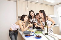 Young Korean Girls´ Wine Party at Home