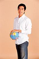 Young Man Holding Globe,Korea