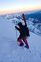 A Man Climbing With Skis on a Mountain the Himalaya