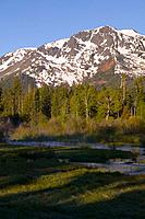 Mount Tallac and a Foggy Stream at Sunrise in the Spring near Lake Tahoe California