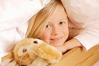 girl, blond, bed, lying, cuddly_animal, smiling, portrait, series, people, child, covered, hiding, plush_animal, cuddly pet, activity, plays childhood...