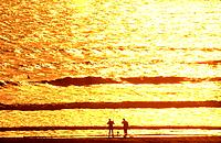 USA Florida Daytona Beach Two fisherman silhouetted against the ocean at sunrise with golden colors