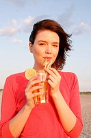 sandy beach, woman, young, refreshment,_beverage, cheerfully, semi_portrait, series, people, brunette, beverage, soda, ice_tea, refreshment, cooling, ...