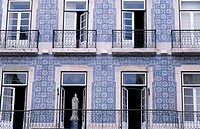 Bairro Alto, building detail, balcony, window , Lisbon, Portugal, Europe