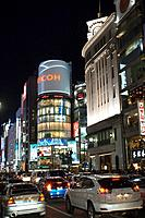 Japan, Tokyo, Ginza, 4_chome_crossing, San_ai Building, streets scenery, night, series, Asia, East_Asia, Honshu, city, city, metropolis, skyscrapers, ...