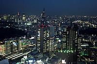 Japan, Tokyo, Shinjuku west, city view, Docomo tower, evening, series, Asia, East_Asia, Honshu, city, city, metropolis, skyscrapers, office_high_rises...