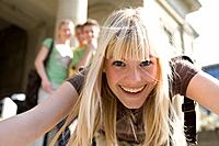 University, students, foreground, woman, young, laughing, portrait, outside, series, people, teenagers, students, friends, schoolmates, school_colleag...