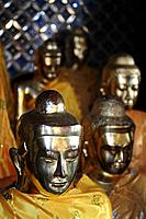 Buddhas in the Shwedagon Pagoda Myanmar Asia