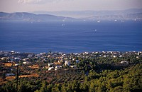View from the Temple of Afea and the sea , Aegina, Saronic Gulf, Greece