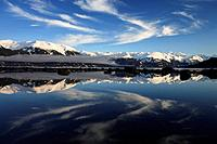 Canada, Alaska, Yukon Territory, Coast Mountains, lake,water_surface, reflection, winter, cloudy_mood, North America, mountain scenery, winter_landsca...
